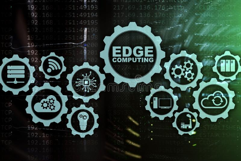 EDGE COMPUTING on modern server room background. Information technology and business concept for resource intensive distributed. Computing services royalty free stock photos