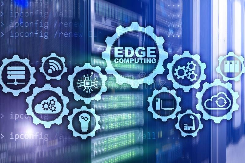 EDGE COMPUTING on modern server room background. Information technology and business concept for resource intensive distributed. Computing services royalty free stock photography