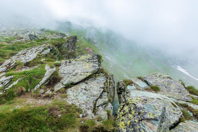 On the edge of rocky cliff of Fagaras ridge. Mysterious scenery of Romanian highlands in thick fog. beautiful summer landscape. popular travel destination royalty free stock images