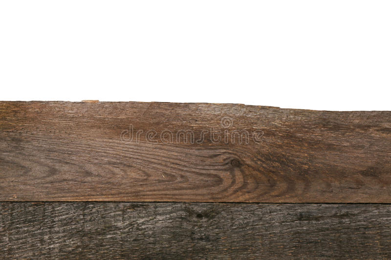 Edge of the wooden surface on white background royalty free stock photos