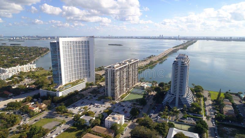 Edgewater Miami antenn fotografering för bildbyråer