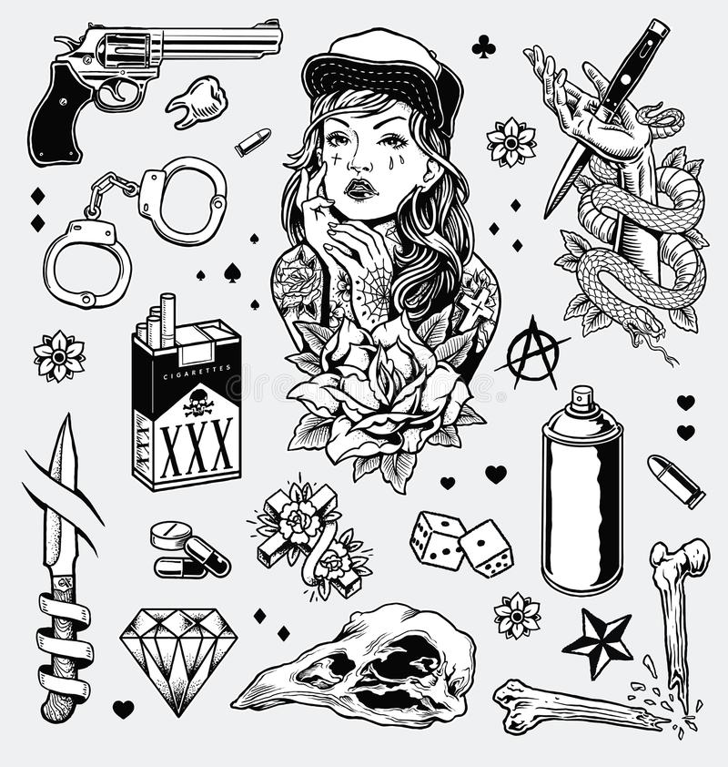 Tattoo Clipart Black And White: Edgy Black And White Tattoo Flash Set Stock Vector