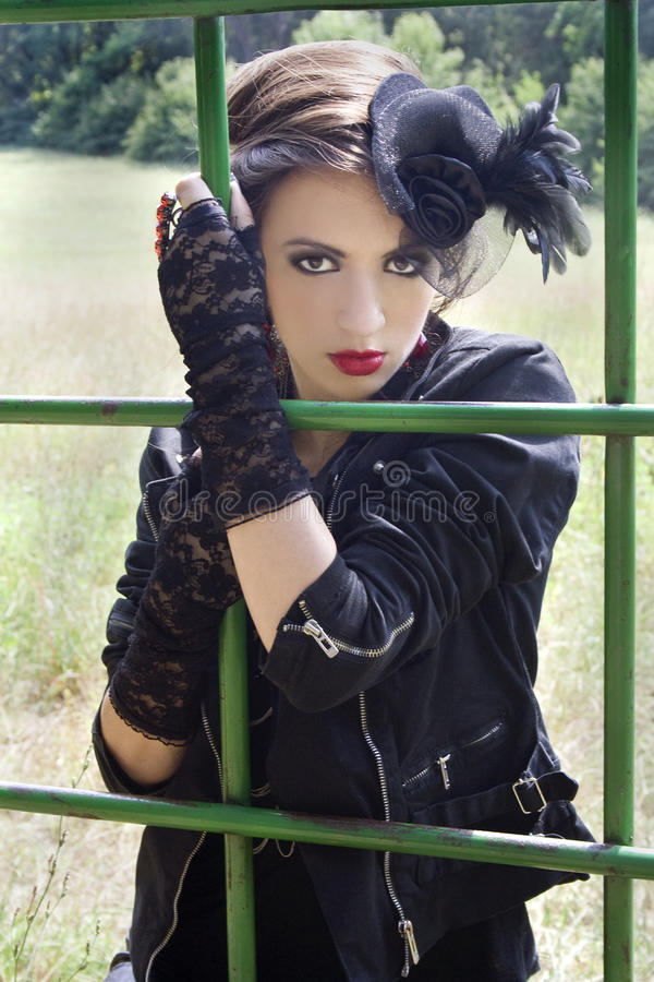 Girl in gothic outfit royalty free stock photo