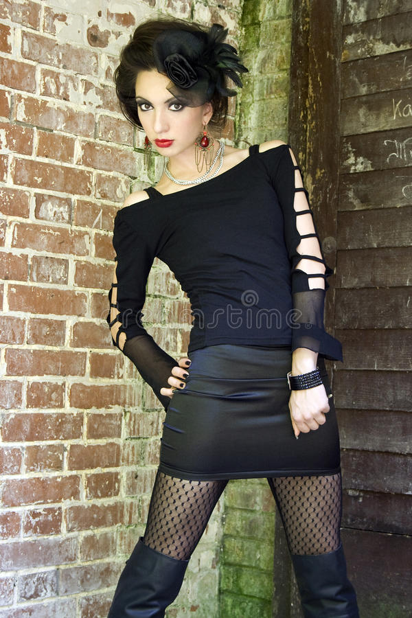 Edgy gothic girl stock photography