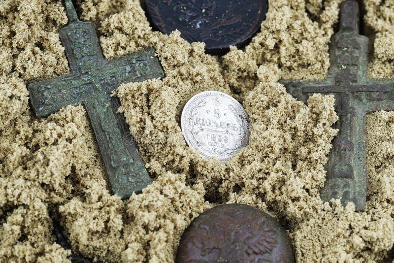 Edição dos kopecks 1892 do valor 5 da moeda de prata, o dinheiro de Rússia foto de stock royalty free