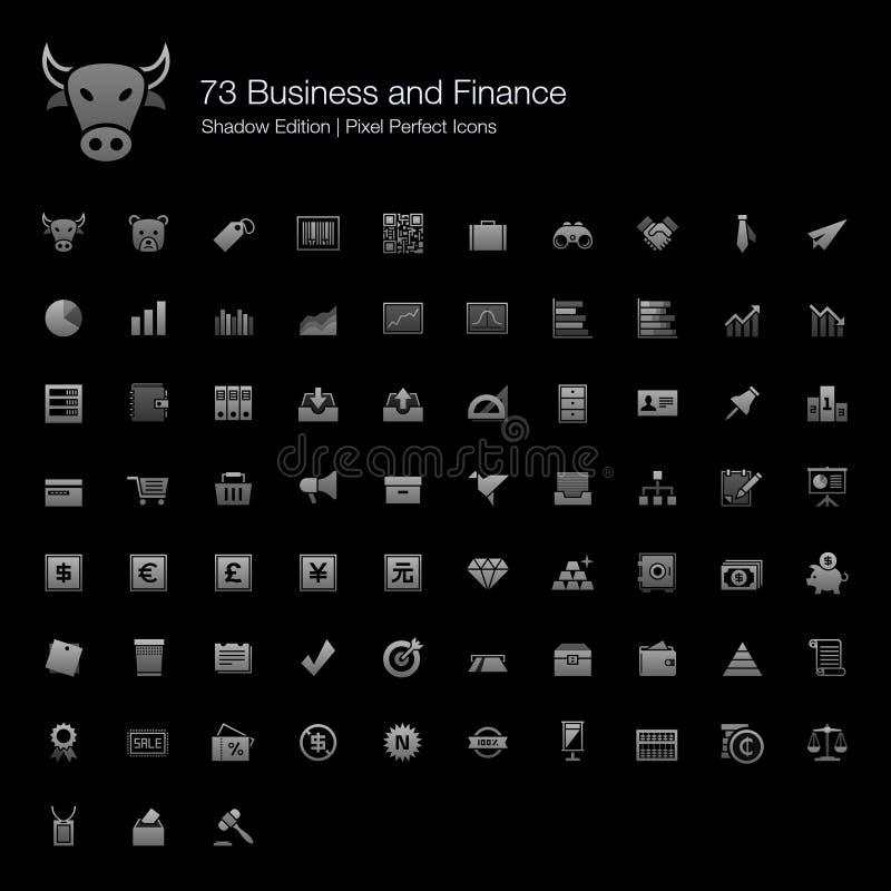 Edição perfeita da sombra dos ícones do pixel do negócio e da finança ilustração stock