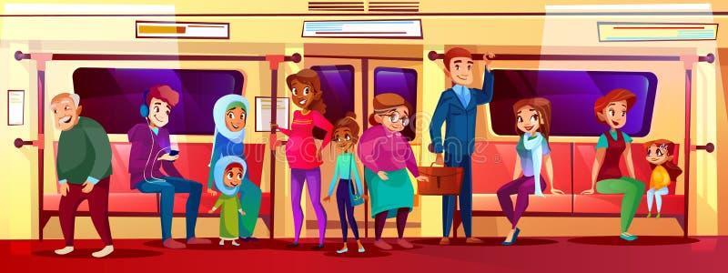 Edição social dos povos na ilustração do vetor do metro ilustração royalty free