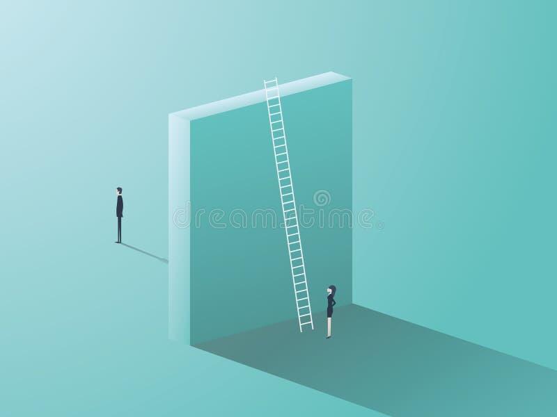 Edições de gênero no negócio Homem contra o símbolo da desigualdade da mulher com a parede grande que separa os ilustração royalty free