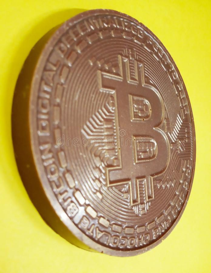 Chocolate bitcoin, cryptocurrency, blockchain, sweet, edible royalty free stock photography