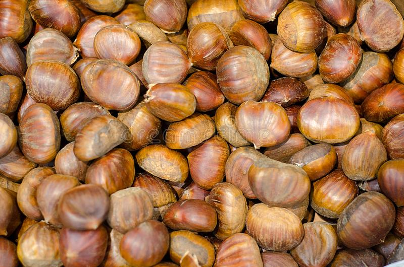 Edible chestnuts background stock photography