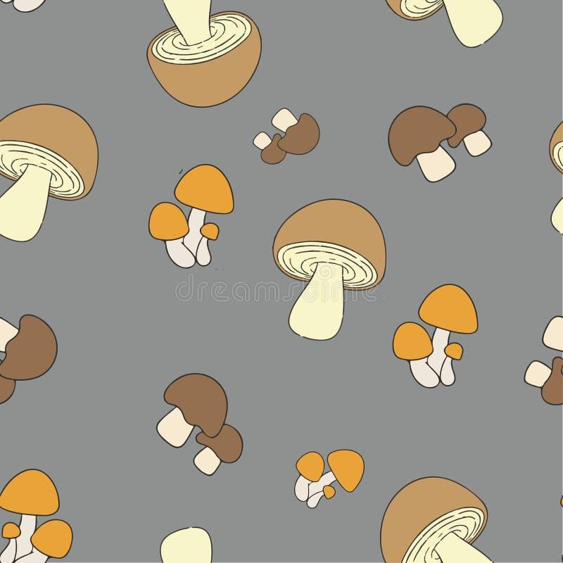 Edible mushrooms pattern seamless pantone vector illustration