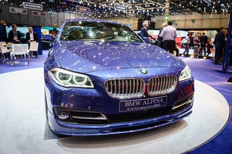 EDICIÓN 50, salón del automóvil Geneve 2015 de BMW ALPINA B5 BI-Turbo fotografía de archivo libre de regalías
