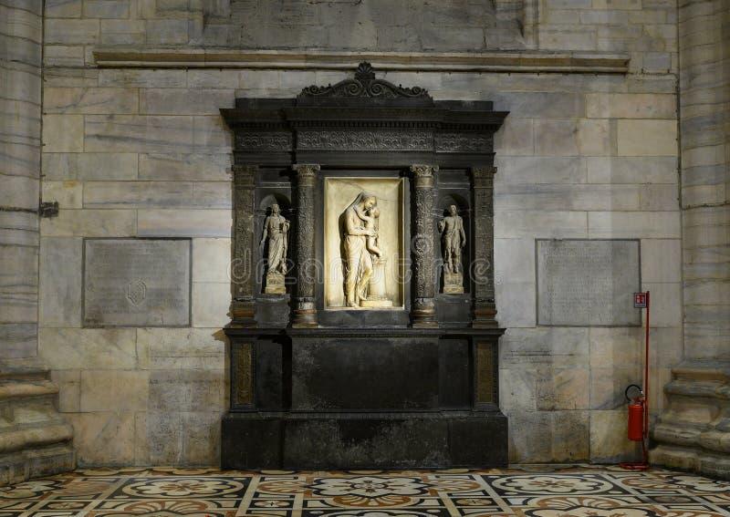 Edicola de la Tarchetta, left side nave, Milan Cathedral. Pictured is the Edicola de la Tarchetta in the left side nave of the Milan Cathedral in Milan, Italy stock photos