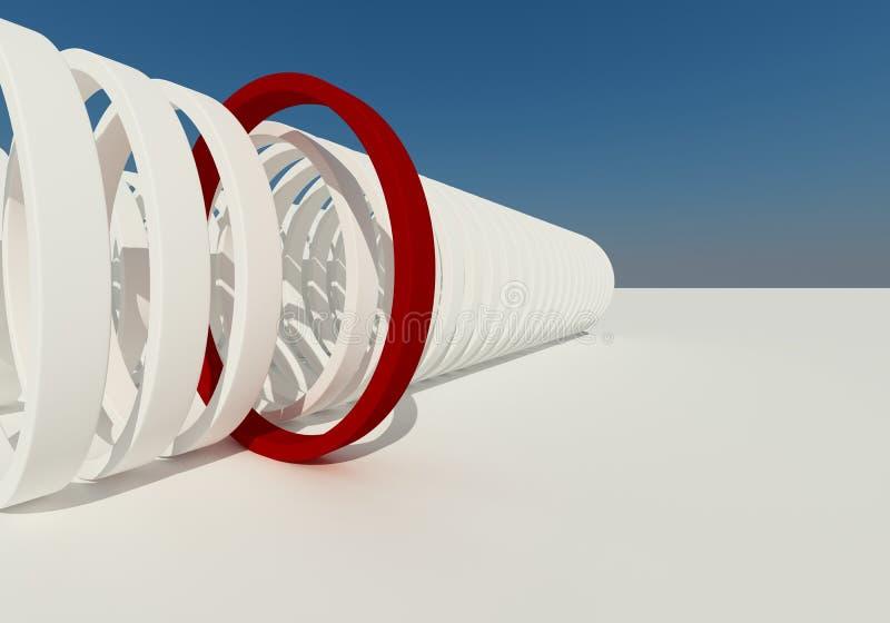 Edifício abstrato do círculo vermelho   ilustração stock