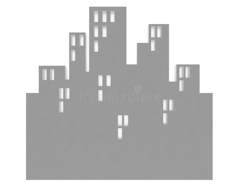 Edifício branco isolado em branco ilustração stock
