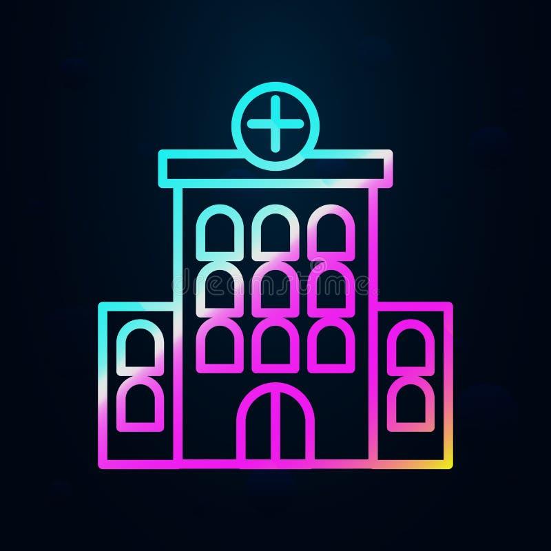 Edifício, clínica, ícone do hospital Linha fina simples, contorno vetorial de ícones de construção hospitalar para ui e ux, site  ilustração royalty free