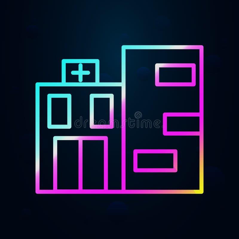 Edifício, clínica, ícone do hospital Linha fina simples, contorno vetorial de ícones de construção hospitalar para ui e ux, site  ilustração stock