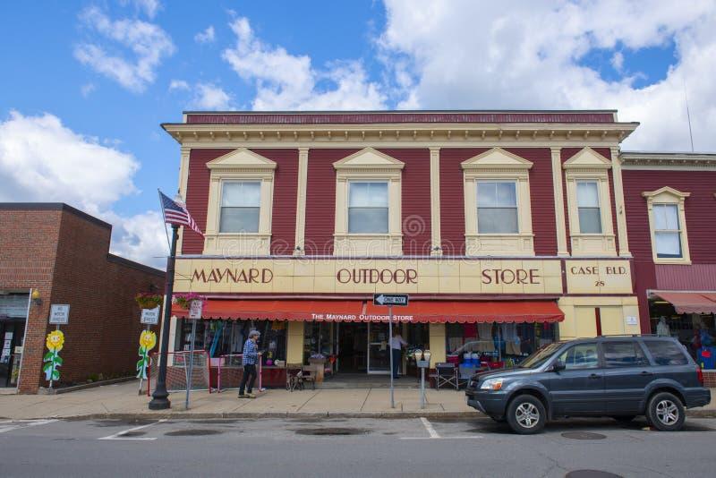Edifício comercial histórico, Maynard, Massachusetts, EUA fotos de stock