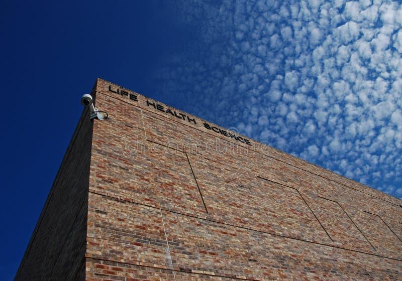 Edifício da ciência da saúde da vida de encontro a um céu azul fotografia de stock