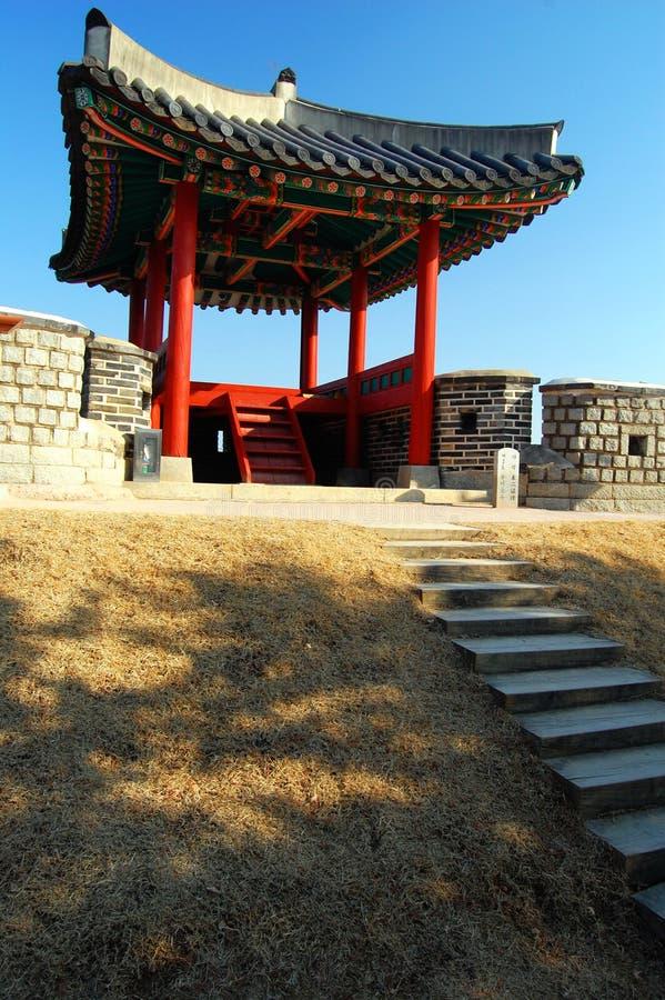 Edifício da sentinela na fortaleza de Hwaseong, Suwon fotografia de stock