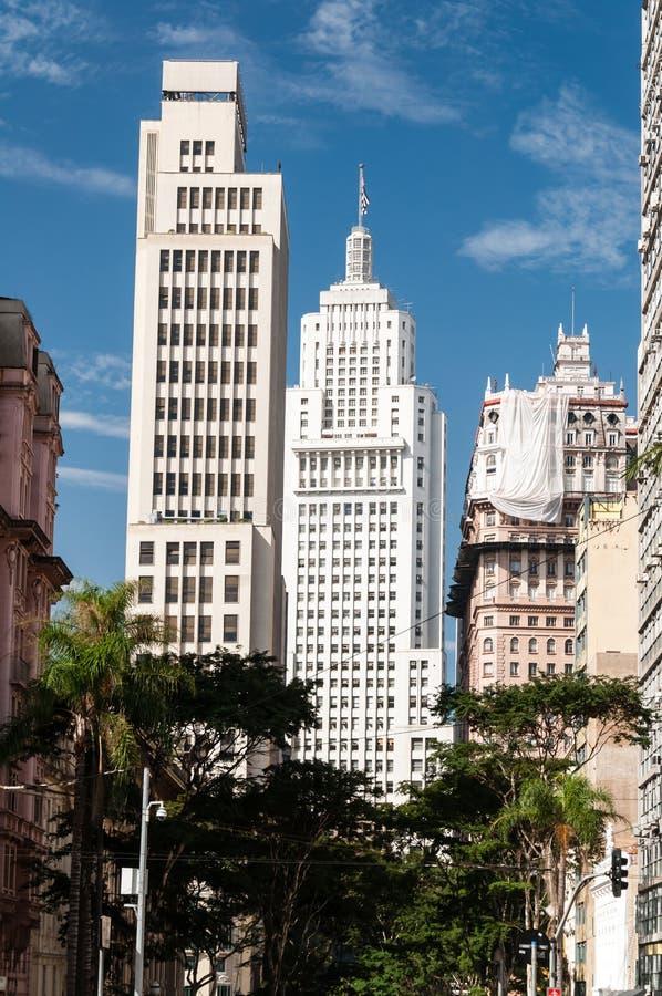 Edifício de Banespa e de Martinelli em Sao Paulo. fotografia de stock royalty free
