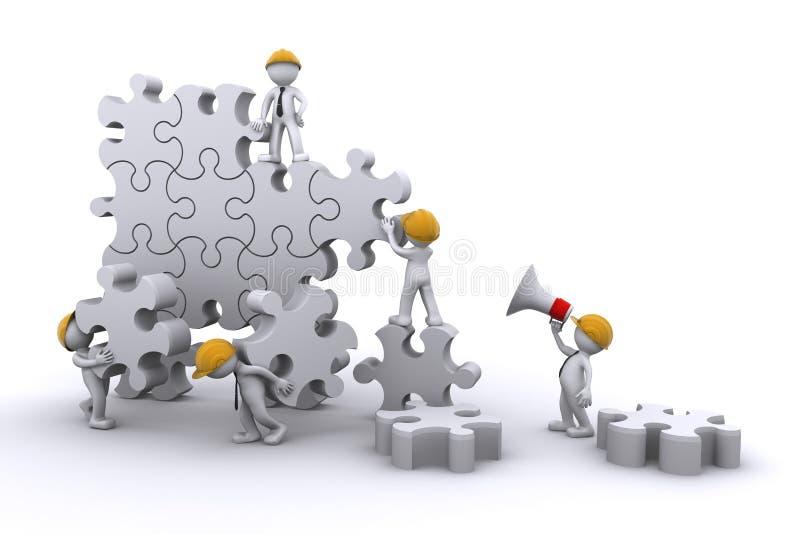 Edifício de equipe um enigma. conceito eveloping. ilustração royalty free