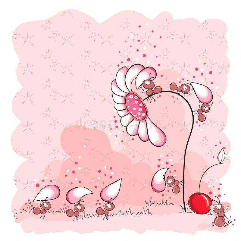 Edifício de uma flor - formigas cor-de-rosa ilustração do vetor