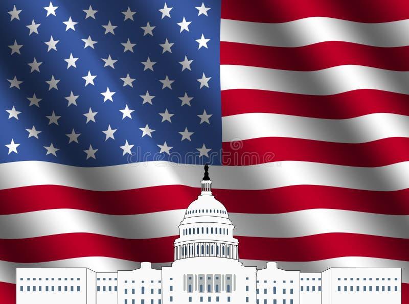 Edifício do Capitólio dos E.U. com bandeira americana ilustração royalty free