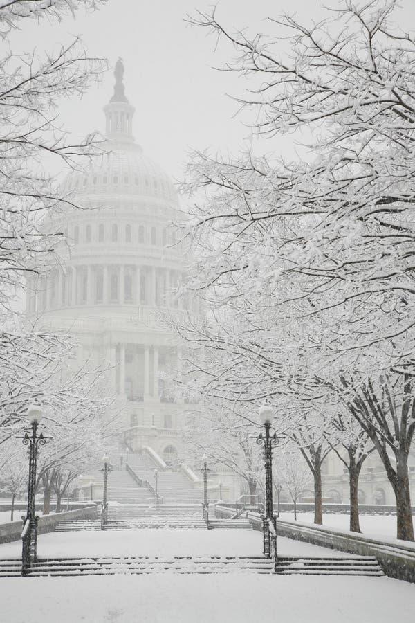 Edifício do Capitólio, inverno, Washington, C.C., EUA foto de stock