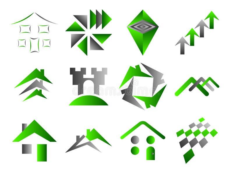 Edifício e ícones Home do logotipo ilustração do vetor