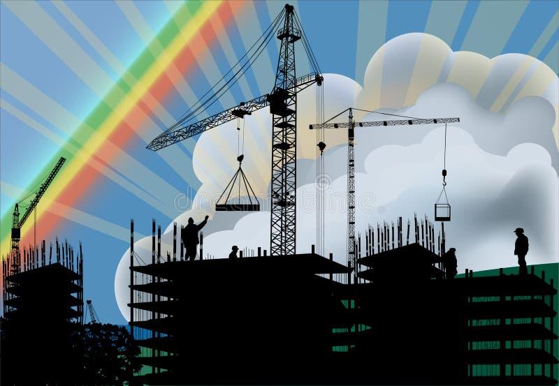 Edifício e arco-íris de casa ilustração royalty free