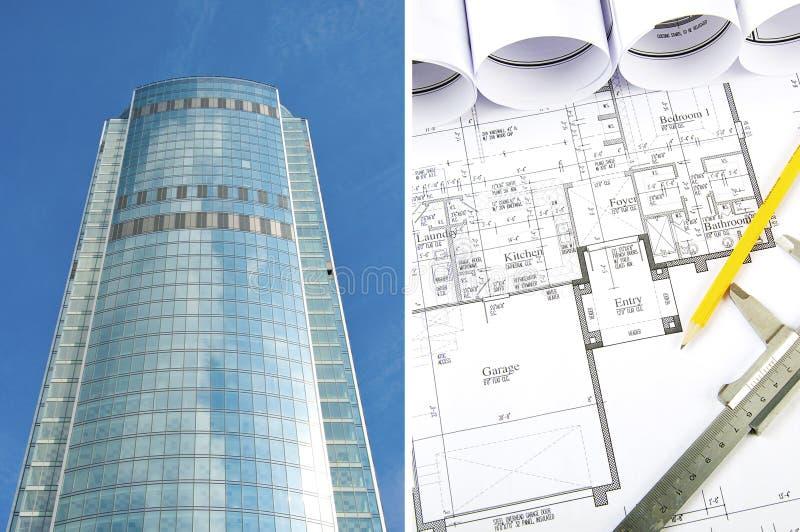 Edifício e modelos, colagem do negócio foto de stock royalty free