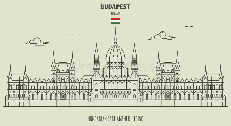 Edifício húngaro do parlamento em Budapest, Hungria Ícone do marco ilustração royalty free