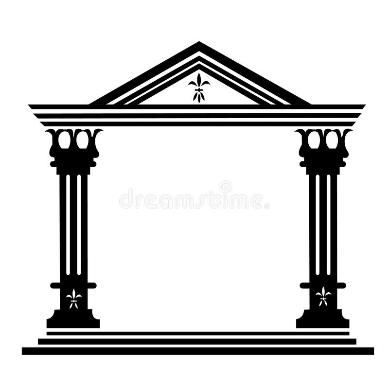 Edifício histórico antigo das colunas ilustração stock