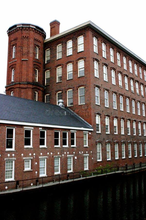 Edifício histórico do moinho de Lowell imagens de stock