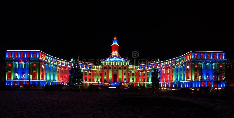Edifício iluminado colorido fotografia de stock royalty free