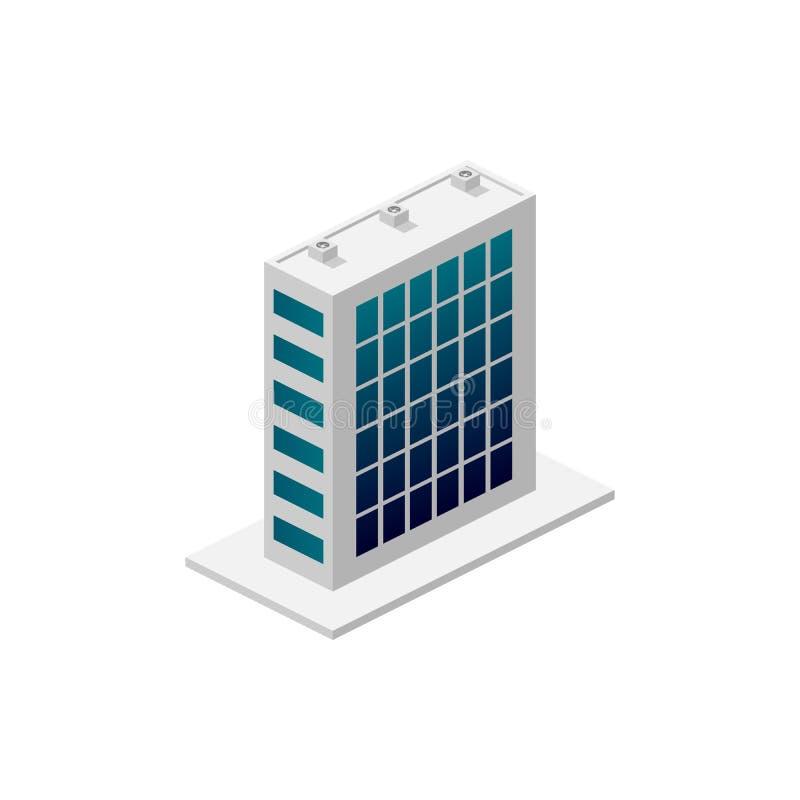 Edifício isométrico Elemento do ícone da construção da cor para apps móveis do conceito e da Web O ícone de construção isométrico ilustração royalty free