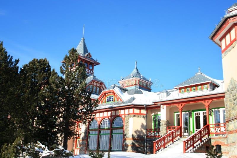 Edifício luxuoso de Strbske Pleso imagens de stock