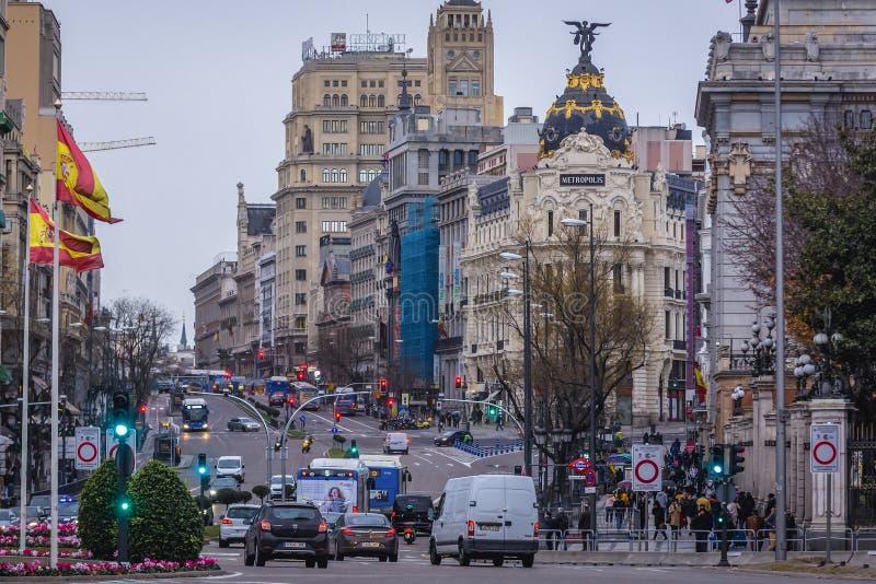 Edifício Metropolis em Madrid fotografia de stock