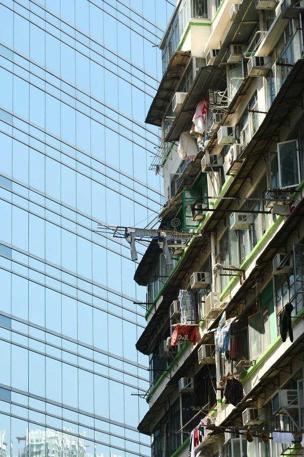 Edifício velho e novo de Hong Kong imagem de stock royalty free