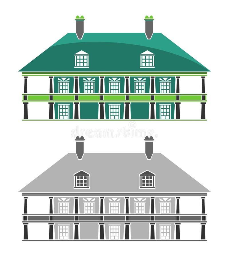 Edifícios - casa colonial francesa ilustração do vetor