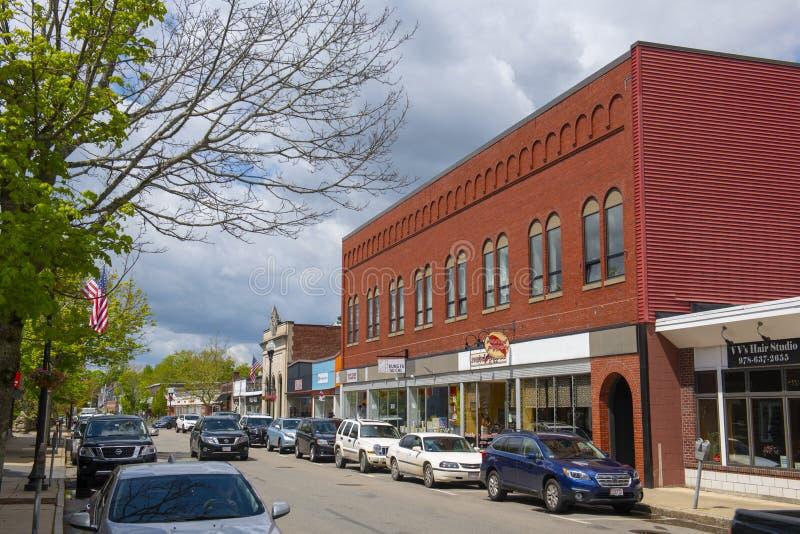 Edifícios comerciais históricos, Maynard, Massachusetts, EUA imagem de stock