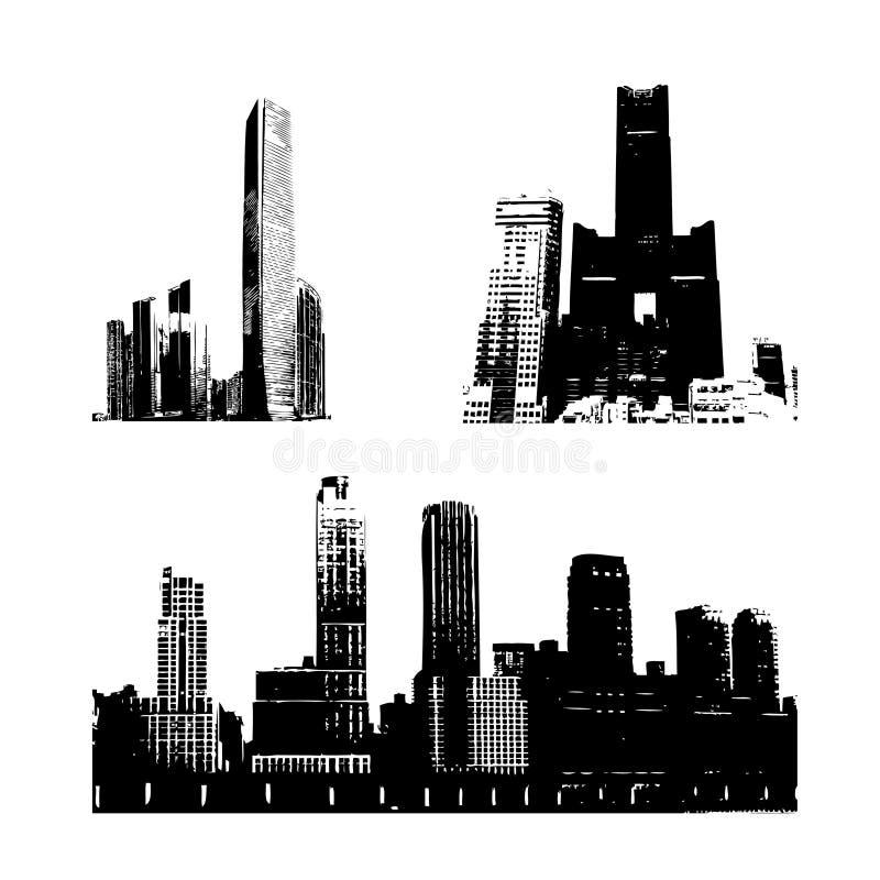 Edifícios da silhueta ilustração royalty free