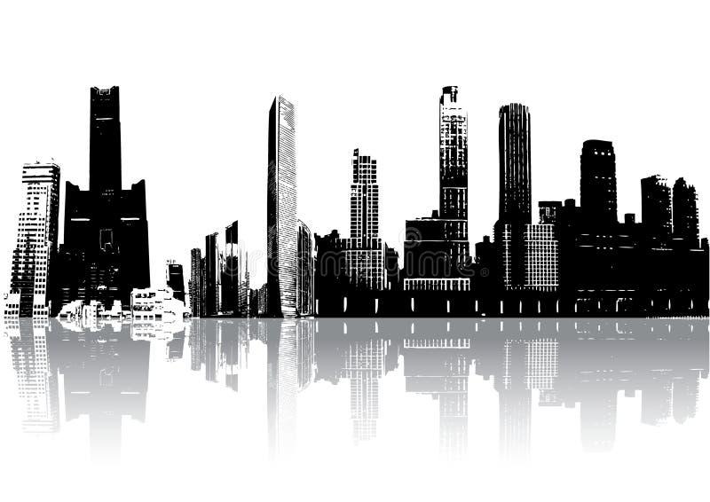 Edifícios da silhueta ilustração stock