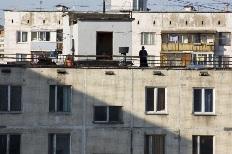 Edifícios de apartamento em subúrbios de Moscovo imagens de stock