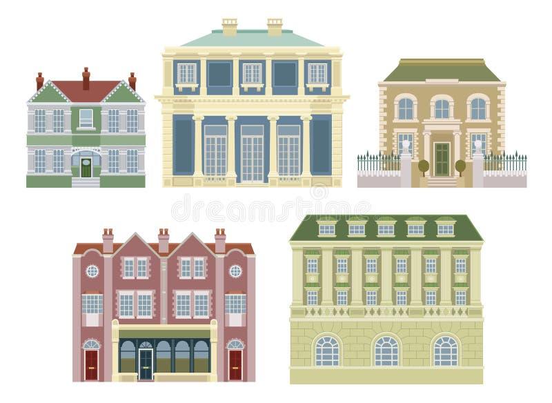 Edifícios de casas antiquados luxuosos ilustração royalty free