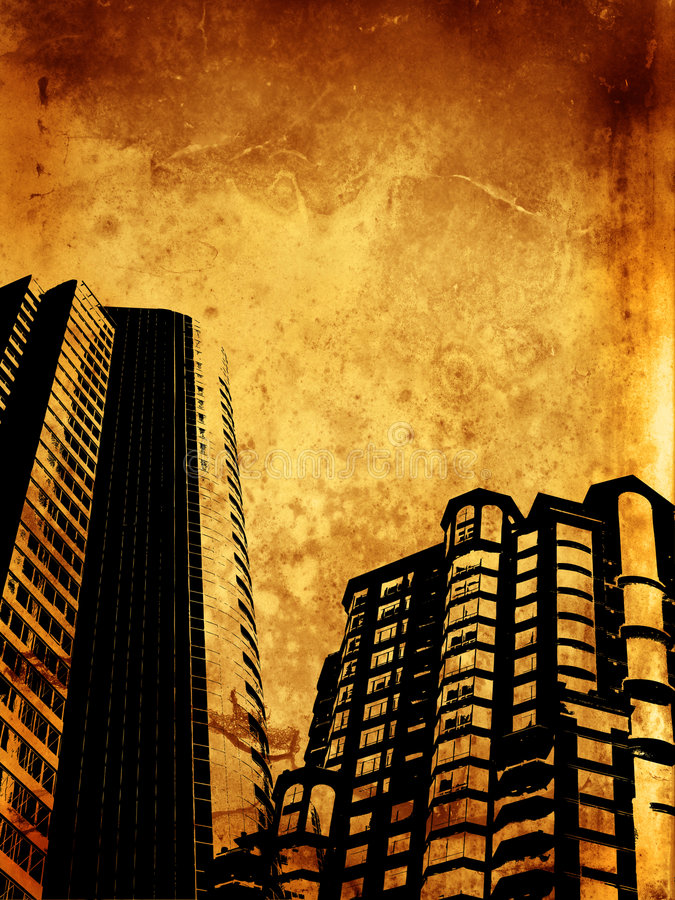 Edifícios de Grunge ilustração royalty free