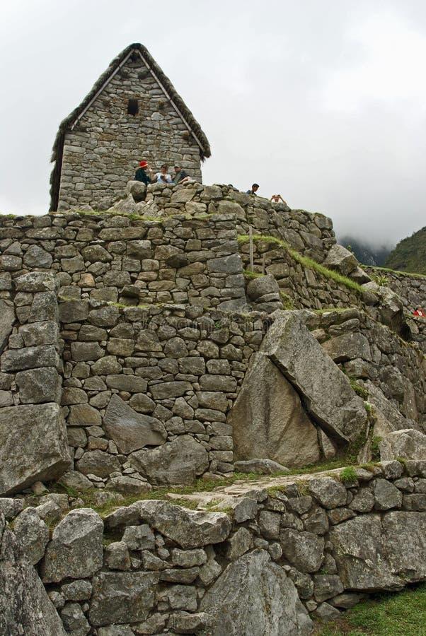 Edifícios de pedra em Machu Picchu, Peru fotografia de stock