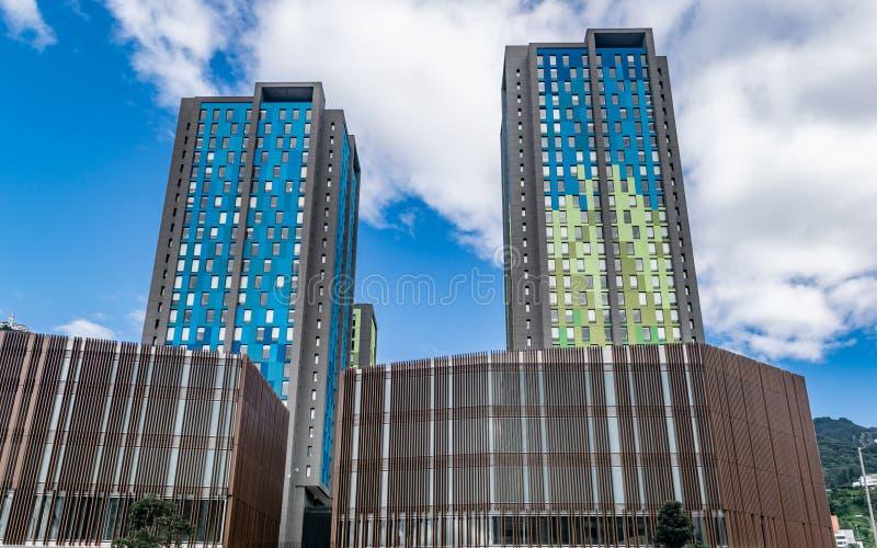 Edifícios de residência universitária e cinematografia distrital fotografia de stock