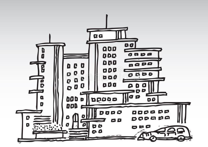 Edifícios elevados da ascensão dos desenhos animados ilustração do vetor